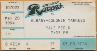 1994 New Haven Ravens ticket stub vs Albany-Colonie