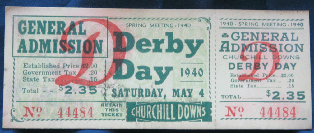 1940 Kentucky Derby ticket stub