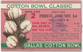 1943 Cotton Bowl Georgia Tech vs Texas stub
