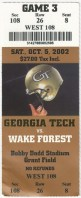 2002 NCAAF Wake Forest at Georgia Tech