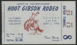 1943 Hoot Gibson Rodeo Ticket Stub
