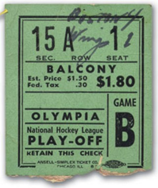 1946 Playoffs Bruins at Red Wings Gm 4 stub