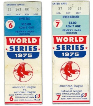 (2) 1975 World Series Reds at Red Sox stub
