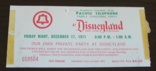 1971 Disneyland Pacific Telephone Private Party stub