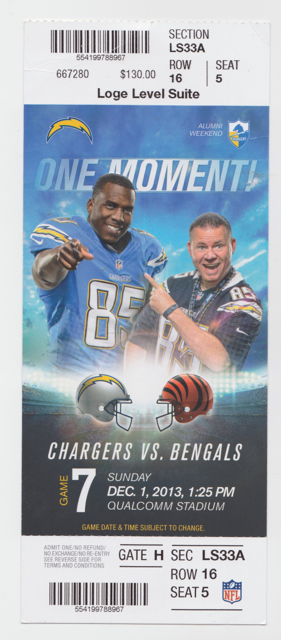 2013 San Diego Chargers ticket stub vs Bengals for sale