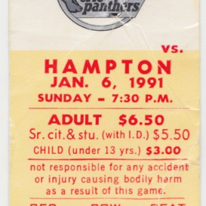 1991 Erie Panthers ticket stub vs Hampton Roads Admirals for sale