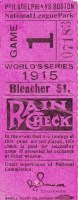 1915 World Series Ticket Stub Game 1 Red Sox at Phillies