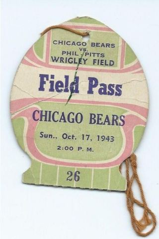 1943 PhilPitts Steagles at Chicago Bears die cut ticket stub