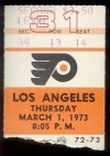 1973 Kings at Flyers ticket stub