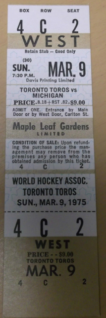 1975 WHA Michigan Stags at Toronto Toros ticket stub