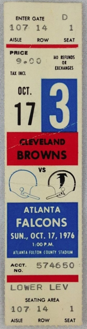 1976 Browns at Falcons ticket stub