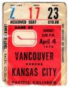 1976 Vancouver Canucks ticket stub vs Kansas City Scouts