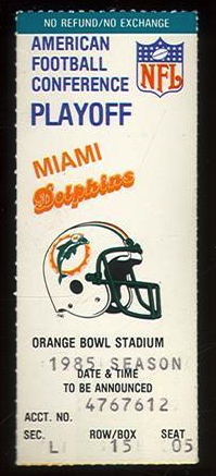 1986 AFC Divisional Game ticket stub Browns vs Dolphins