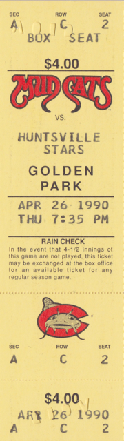 1990 Columbus Mud Cats ticket stub vs Huntsville Stars