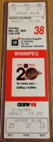 1990 NHL Winnipeg Jets at Vancouver Canucks ticket stub