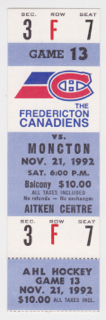 1992 AHL Moncton Hawks at Fredericton Canadiens Minor League Hockey ticket stub