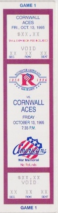 1995 AHL Cornwall Aces at Rochester Americans ticket stub