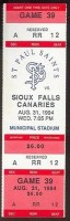 1995 St. Paul Saints ticket stub vs Sioux Falls