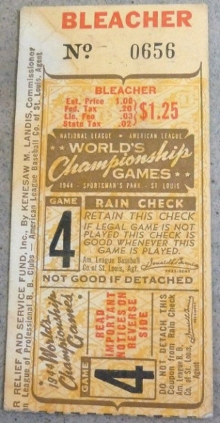 1944 World Series Game 4 Ticket Stub Browns vs Cardinals