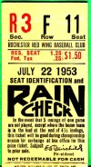 1953 Rochester Red Wings ticket stub