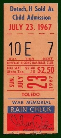 1967 MiLB Intl League Mud Hens at Bisons ticket stub 17.85
