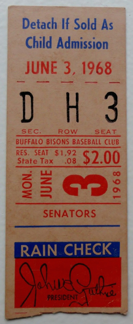 1968 Washington Senators at Buffalo Bisons ticket stub