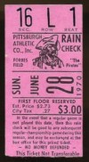 1970 Pittsburgh Pirates Last Game at Forbes Field ticket stub