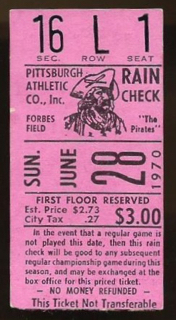 1970 Pittsburgh Pirates Last Game at Forbes Field ticket stub 808