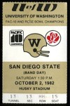 1982 NCAAF San Diego State at Washington ticket stub
