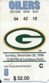 1998 Oilers at Packers ticket stub