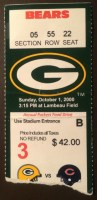2000 Bears at Packers ticket stub