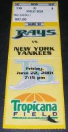 2001 Yankees at Rays ticket stub