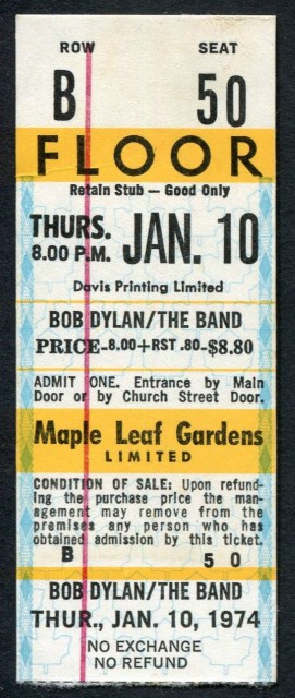 1974 Bob Dylan The Band Toronto ticket stub 150
