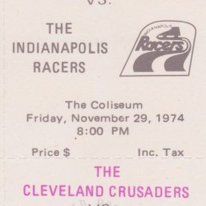 1974 WHA Cleveland Crusaders full ticket vs Indianapolis