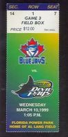 1999 Blue Jays at Devil Rays ticket stub