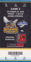 2006 CHL Rio Grande Valley Killer Bees ticket stub vs Arizona