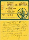1959 Portland Beavers ticket stub vs San Francisco Giants