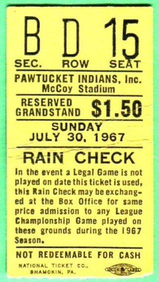 1967 MiLB Pawtucket Indians ticket stub