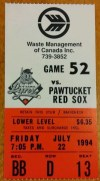 1994 Ottawa Lynx ticket stub vs Pawtucket