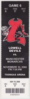 2006 AHL Lowell Devils ticket stub vs Manchester