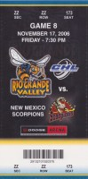 2006 CHL Rio Grande Valley Killer Bees ticket stub vs New Mexico