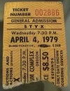 1979 Styx Portland ticket stub