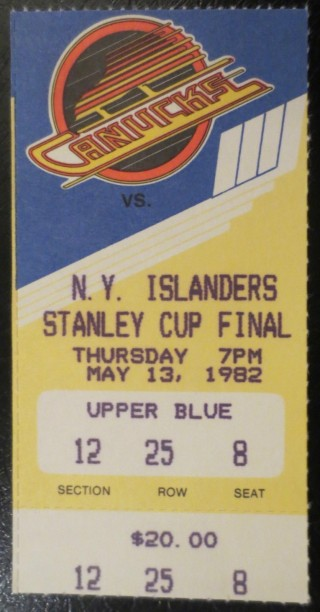 1982 NHL Stanley Cup Final New York Islanders at Vancouver Canucks ticket stub 26.79