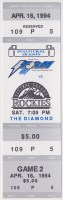 1994 Lake Elsinore Storm ticket stub vs Central Valley
