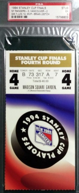 1994 Stanley Cup Final Game 7 Canucks at Rangers ticket stub PSA 5 143