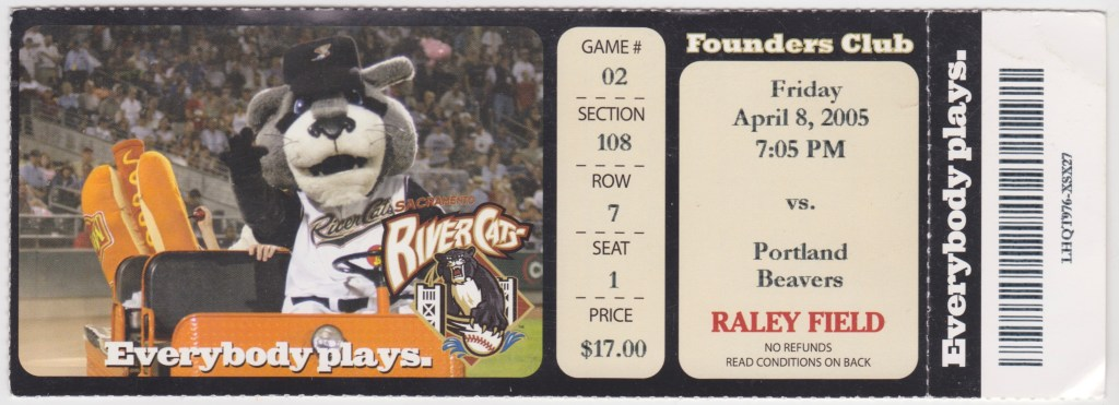 2005 Sacramento River Cats ticket stub vs Portland