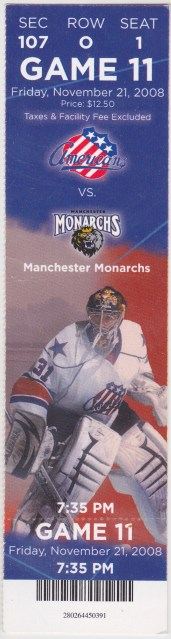 2008 AHL Manchester Monarchs at Rochester Americans ticket stub