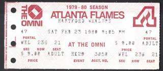 1980 NHL Whalers at Flames ticket stub