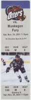 2001 UHL Missouri River Otters ticket stub vs Muskegon