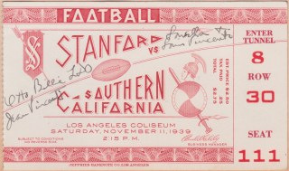 1938 NCAAF Stanford at USC ticket stub